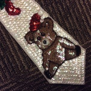 Vintage Accessories - Sequin Holiday Christmas Teddy Bear Tie